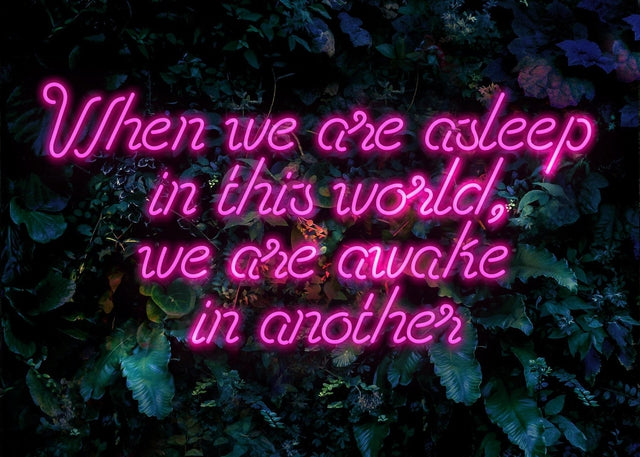 When We Are Awake Neon Leaves Canvas