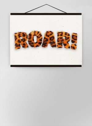 Roar Typographic Quote Tiger Pattern Canvas