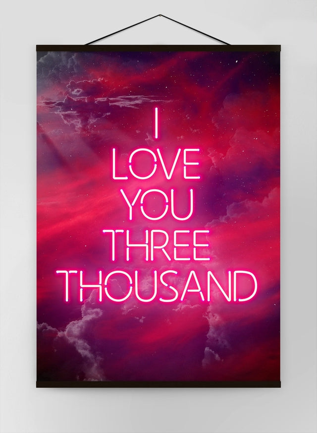 I Love You 3000 Quote Neon Canvas