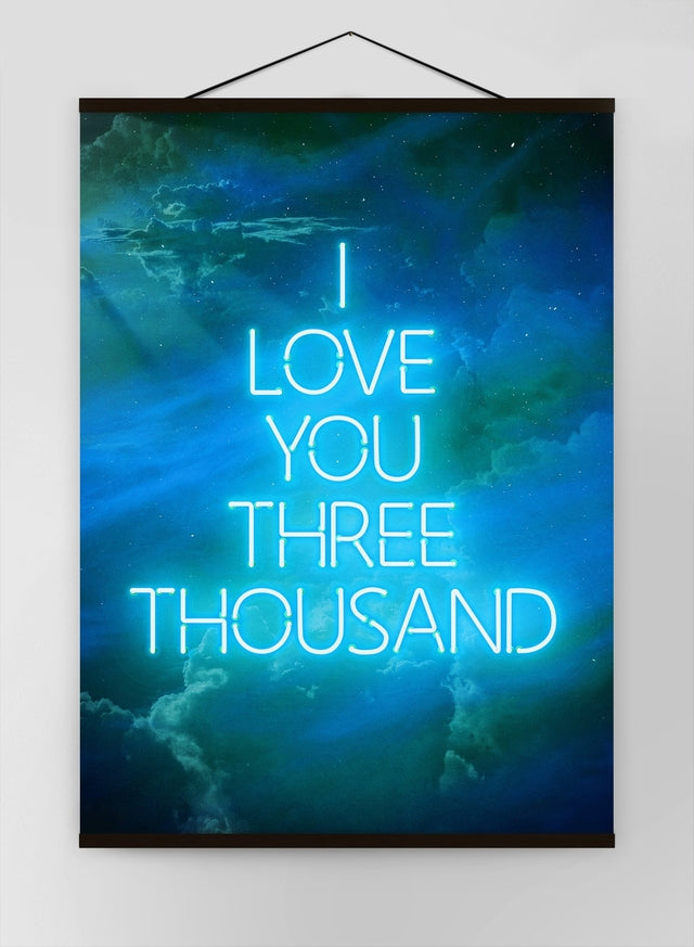 I Love You 3000 Quote Neon Blue Canvas
