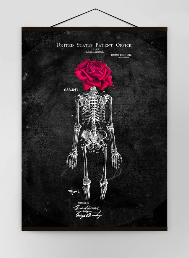 Skeleton Rose Black Canvas