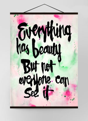 Everything Has Beauty Graffiti Paint Light Canvas Print