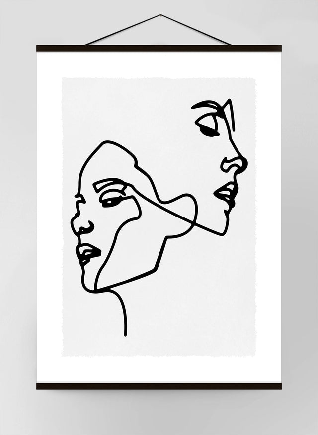 Two Faces Study Lineart Canvas Print