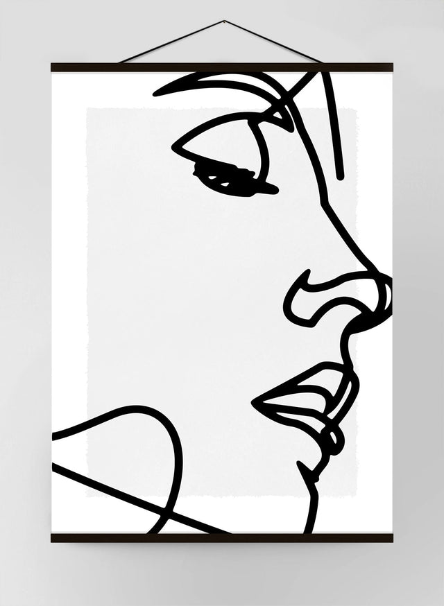Close Up Face Black And White Lineart Canvas Print