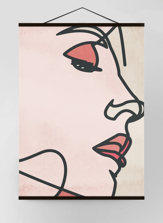 Close Up Face Watercolour Lineart Canvas Print
