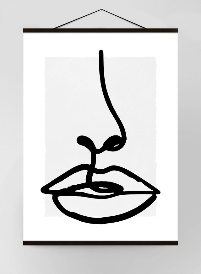 Lips Black and White Lineart Canvas Print