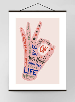 OK Fingers Colour Block Canvas Print