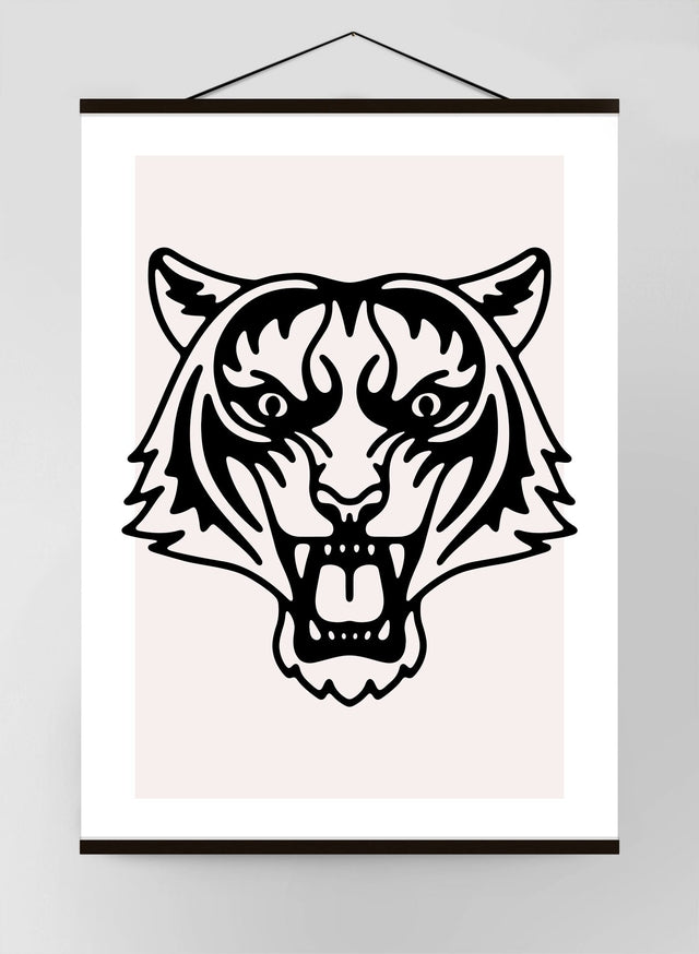 Tiger Portrait Black and White Canvas Print