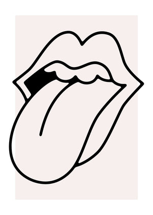 Rock Tongue Lips Black and White Canvas Print