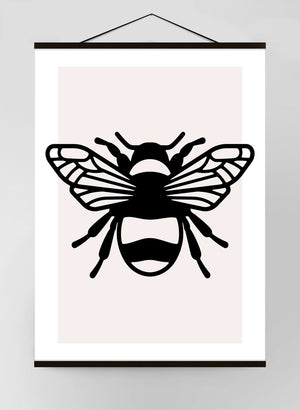 Bee Study Black and White Canvas Print