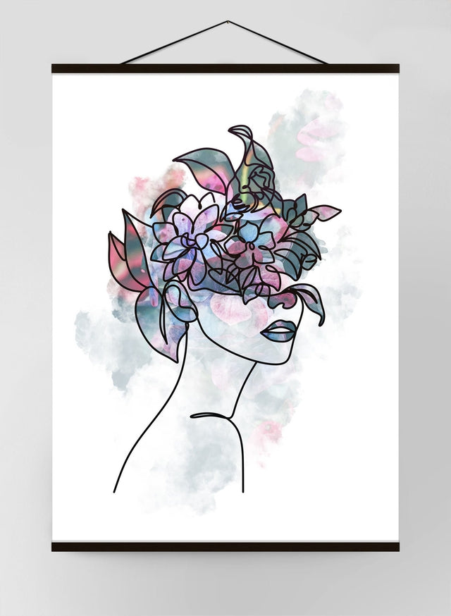 Flower Hair 1 Line Art Canvas