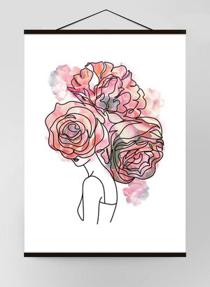 Roses Hair Line Art Canvas