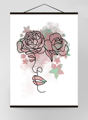Floral Face Line Art Canvas