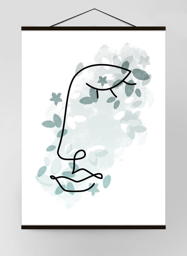 Leaves Face Line Art Canvas