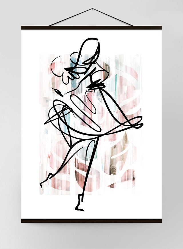 Dancing Ink Brush Drawing 1 Canvas
