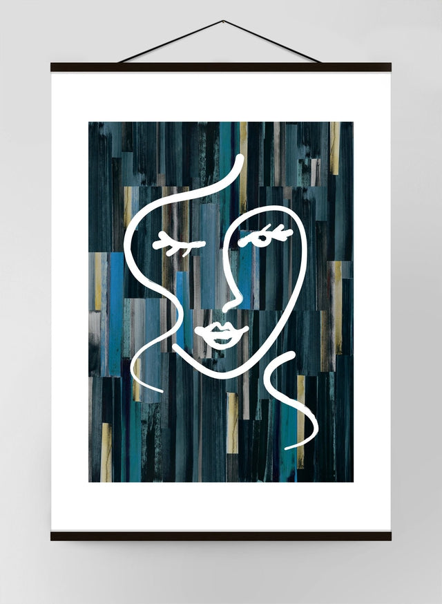 Abstract Brush Painted Face Canvas