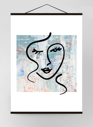 Abstract Brush Painted Face Light Canvas