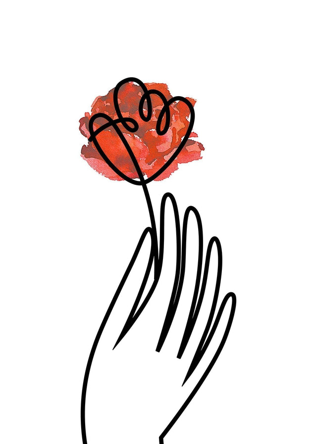 Hand and Rose Line Art Canvas