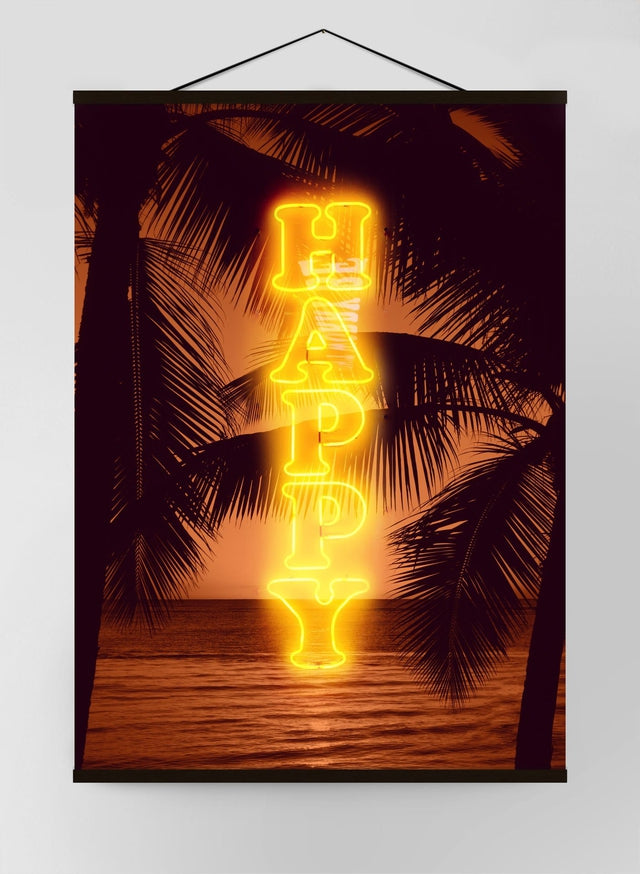Happy Beach Neon Canvas
