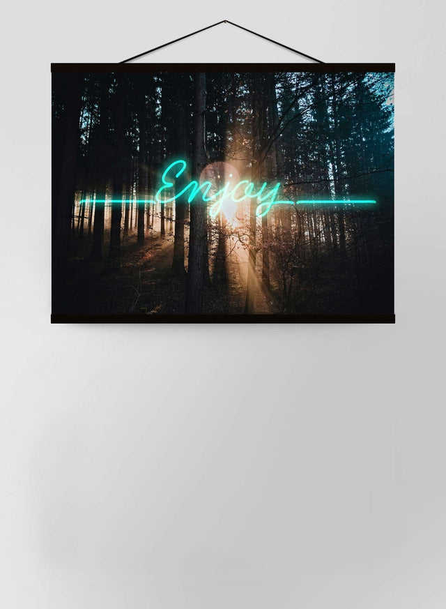 Enjoy Woodland Neon Canvas