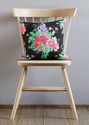 Black Botanical Streetart Cushion
