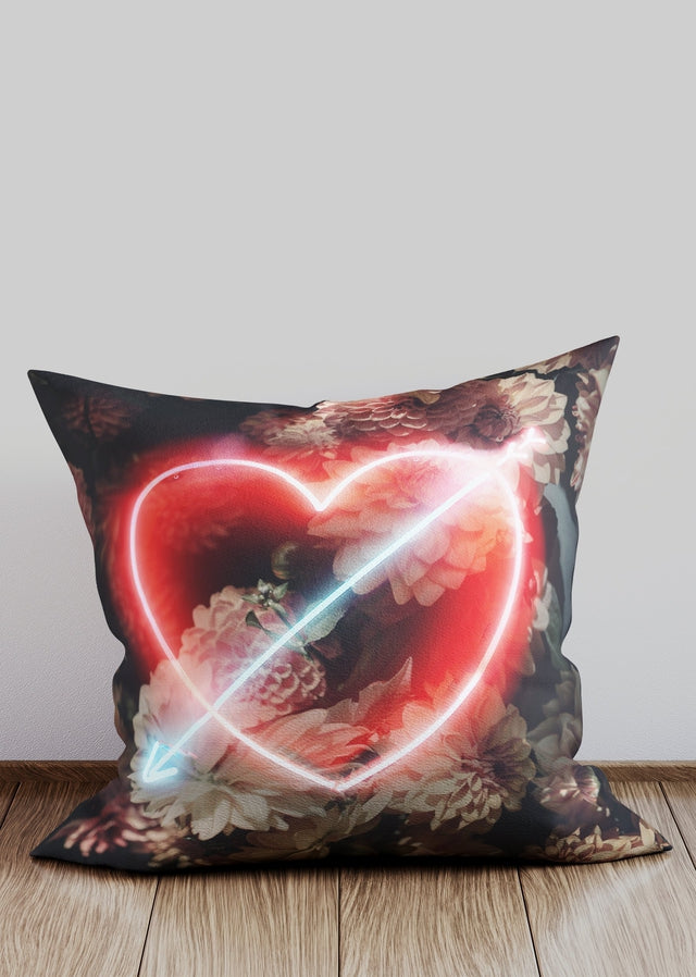 Neon Heart and Arrow Cushion