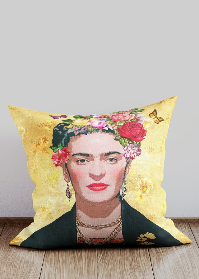 Frida Kahlo Gold Cushion