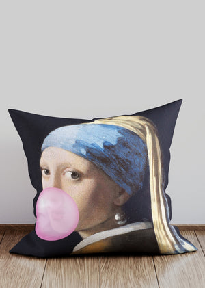 Girl Blowing Bubble Altered Art Cushion