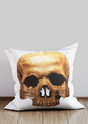 Gold Skull White Marble Cushion