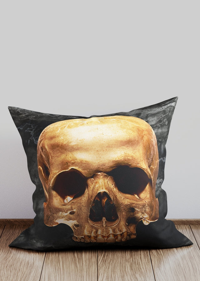 Gold Skull Black Marble Cushion