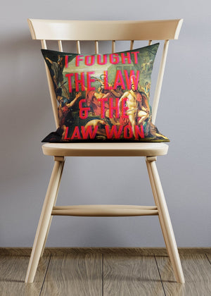 I Fought The Law Altered Art Clash Cushion