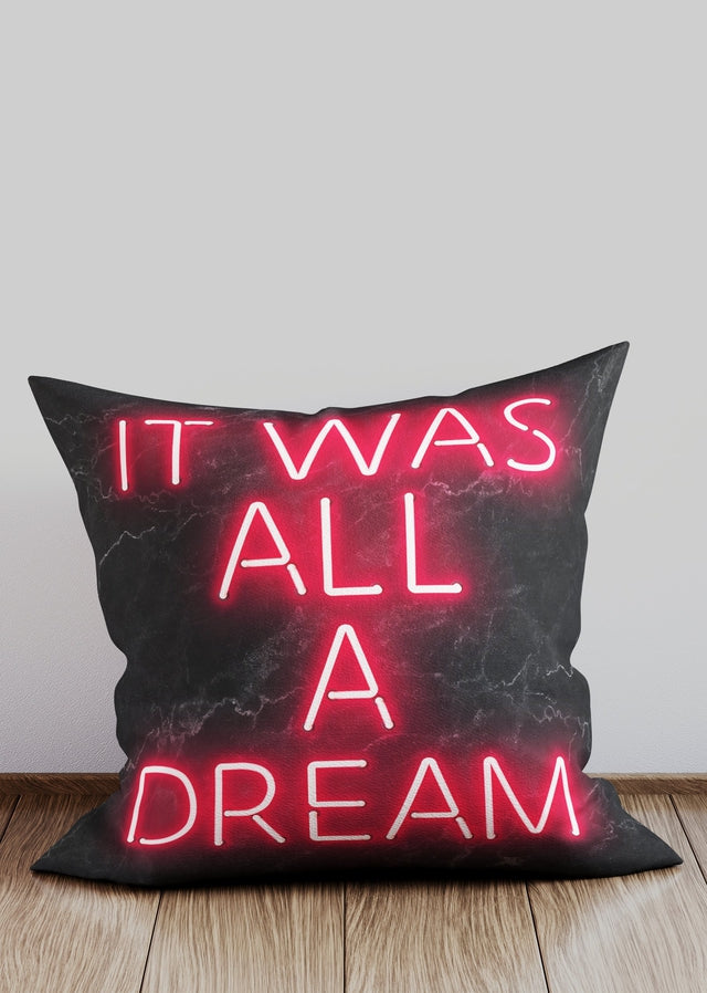 It Was All A Dream Notorious BIG Quote Neon Cushion