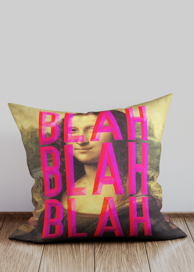 Moaning Mona Lisa Blah Blah Blah Altered Art Cushion