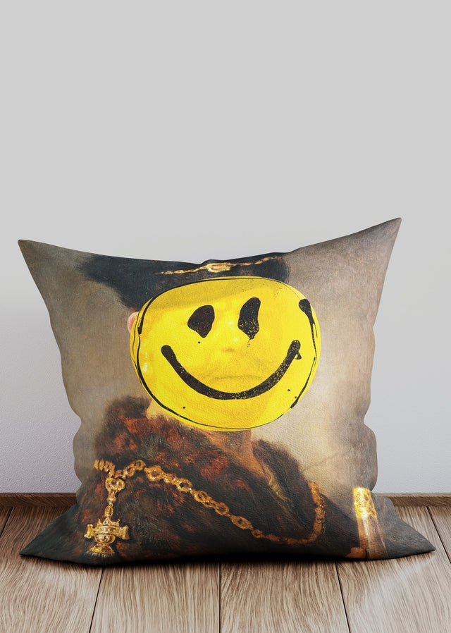 Nobleman Smiley Altered Art Cushion