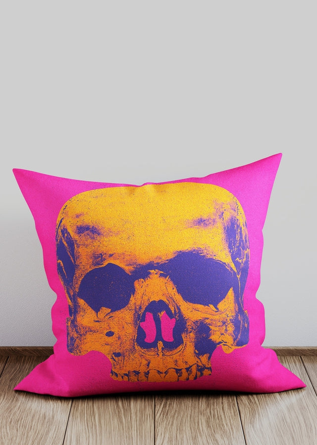 Popart Warhol Style Orange Skull Cushion