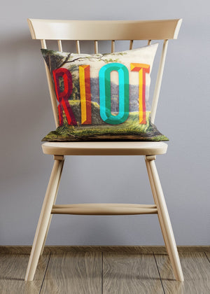 Riot Typography Altered Art Cushion