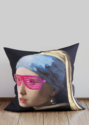 Girl With Pink Shutter Shades Cushion