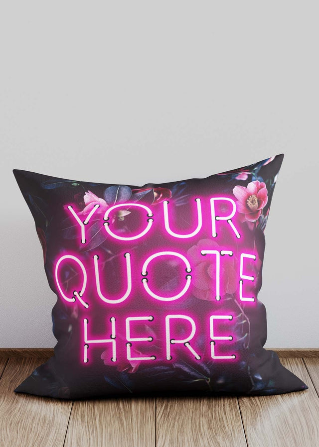 Custom Pink Neon Floral Cushion