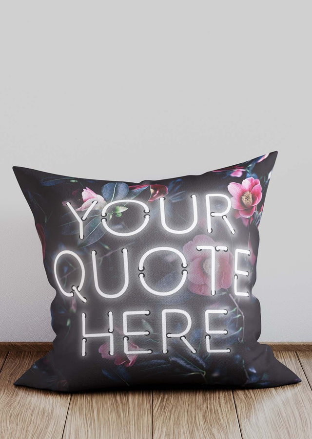 Custom White Neon Floral Cushion