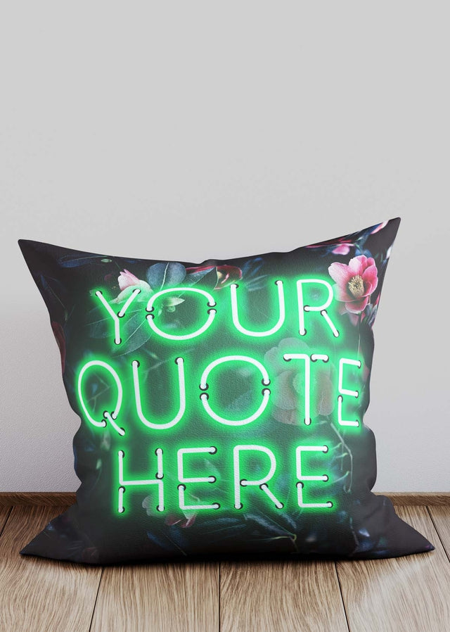 Custom Green Neon Floral Cushion