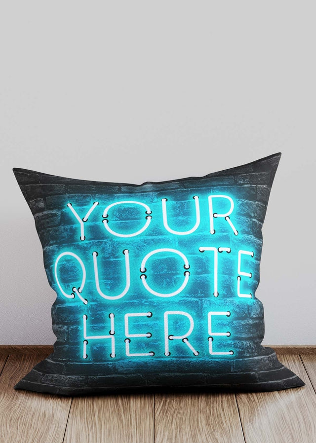 Custom Blue Neon Brick Cushion