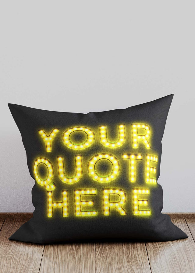 Custom Circus Style Yellow Bulb Letters Cushion