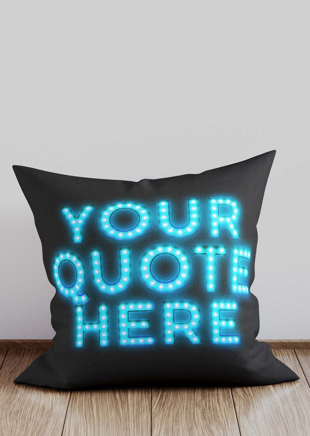 Custom Circus Style Blue Bulb Letters Cushion