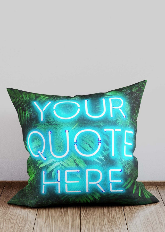 Custom Blue Neon Leaves Cushion
