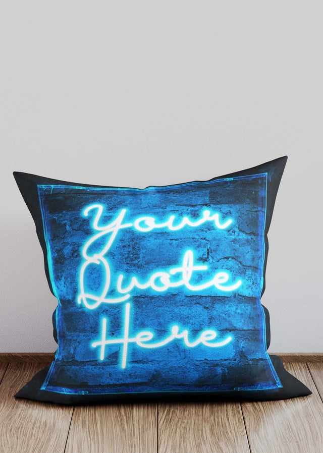 Custom Scribble Neon Blue Cushion
