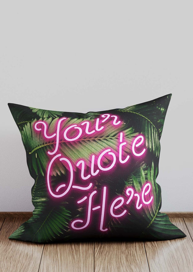 Custom Script Neon Leaves Cushion