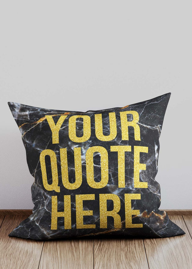 Custom Gold Glitter Style Lettering Marble Cushion