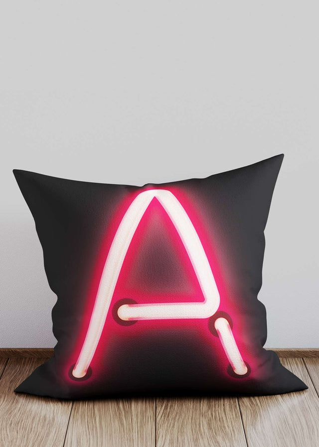 Custom Single Large Neon Letter Black Cushion