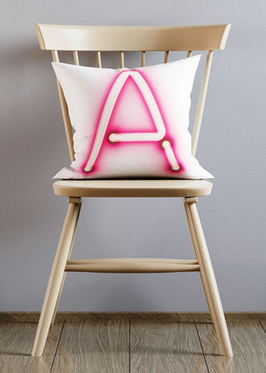 Custom Single Large Neon Letter White Cushion