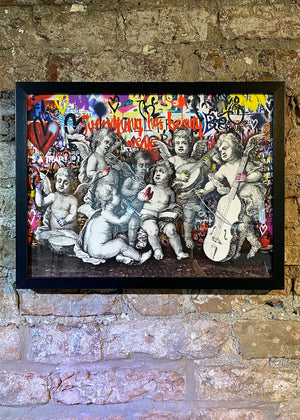 Framed Cherubs Graffiti Print